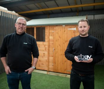 Jack Sutcliffe & Simon Hobson, founders of Power Sheds holding an Ebay Award Trophey